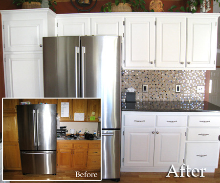 Cabnet Refinishing Before And After Painting Kitchen Cabinets White